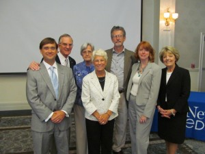 WWII Wilmington Home Front Heritage Coalition board members at StarNews Media's Lifetime Achievement Awards luncheon, July 12, 2012. L to R: Al Butler, counsel; Wilbur Jones, chairman; Doris Ayers, vice chairman; Jean Lawler; John Meyer; Jennifer Presnell, treasurer; Mary Ellen Simmons, district representative for Congressman Mike McIntyre.