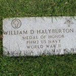 Gravesite of Medal of Honor recipient Pharmacists Mate Second Class William D. Halyburton, Jr., U.S. Navy, at the National Memorial Cemetery of the Pacific (The Punchbowl), Honolulu, Hawaii. Halyburton graduated from New Hanover High School in 1943. 2011.
