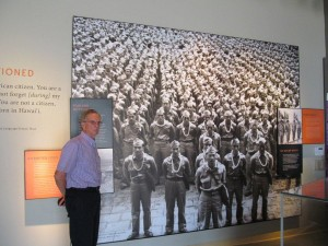 "Pearl Harbor, Hawaii, Visitors Center museum - with photomural of famed Nisei 442nd Regimental Combat Team (""Go for Broke""), comprised mainly of Japanese-Americans from Hawaii. The 442nd was the war's most highly decorated American unit. December 2011."