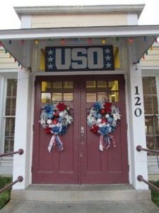Front entrance decorated for 70th anniversary celebration of Wilmington's Hannah Block Historic USO and Community Arts Center - appears the same as in wartime. The building is on the National Register of Historic Places.