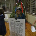 "Forest Hills Global Elementary ""wax museum"" student interprets personna of Hannah Block (""Mrs. World War II Wilmington"") at 70th anniversary celebration of the Historic USO named for her, Dec. 16, 2011."