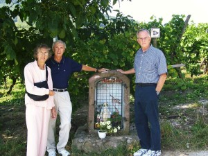 With Smitty and Emma Jewell of Wilmington at site of Lt. Charles Murray's (Wilmington wartime resident) Medal of Honor action site in vineyard at Kaysersberg, Alsace, France. 2009.