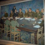 Painting depicting signing of German surrender on May 7, 1945, at Gen. Eisenhower's HQ in Reims, France, now a museum. 2008/10.