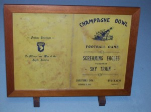 Reims, France - Champagne Bowl was scheduled to be played on Christmas day, 1944, between 101st Airborne Screaming Eagles and U.S. Army Air Forces C-47 Skytrain members. Postponed because of the German assault in the Ardennes (Battle of the Bulge) and never played. Surrender museum. 2008/10.