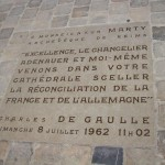 At Notre Dame cathedral, Reims, France, site of WWII reconciliation between France (President DeGaulle) and Germany (Chancellor Adenauer) in 1962.