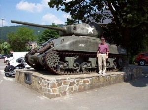 Sherman tank in la Roche-en-Ardennes, Belgium honoring U.S. 2nd and 3rd Armored Divisions who fought there. Belgians have placed and maintained many such memorials of vehicles, weapons, and markers. 2008/10.