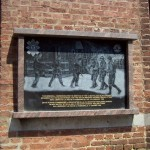 Plaque in La Roche, Belgium, marking site where British 51st Highlanders Division linked with U.S. 84th Infantry Division to liberate town during Battle of the Bulge, January 1945. 2008/10.