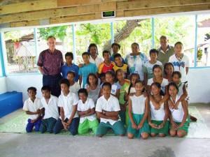 With students at Catholic elementary school, Bikenebeu, Tarawa, 2009