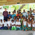 With students at Catholic elementary school, Bikenebeu, Tarawa, 2009