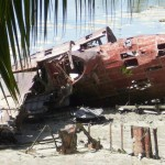 Wreckage of Japanese seaplane at Butaritari island, Makin Atoll. 2009