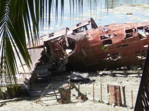 Wreckage of Japanese seaplane at Butaritari island, Makin Atoll. 2009