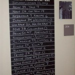 Lobby mini-museum reproduction  of 1943 college football scores posted at Hannah Block Historic USO during wartime.