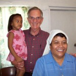 With Sister Mary Manuera, provincial superior at Daughters of Our Lady of the Sacred Heart Catholic convent, Tarawa, Kiribati; and Lily, granddaughter of Molly Brown. 2008/09.