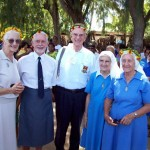 With sisters from Daughters of Our Lady of the Sacred Heart convent, Tarawa, Kiribati, and minister of justice. 65th anniversary, 2008.
