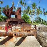 Japanese gun  battery destroyed by U.S. bombardment, Black Beach, southern side of Betio, Tarawa. 2008/09.