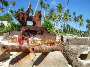 Japanese gun  battery destroyed by U.S. bombardment, Black Beach, southern side of Betio, Tarawa. 2008/09.