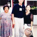 With local woman and Madame Yuki Tojo, granddaughter of Japan's wartime premier, Gen. Hideki Tojo. Peleliu, Palaus. 1999.