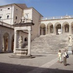Courtyard in rebuilt Monte Cassino abbey, Italy. 2007