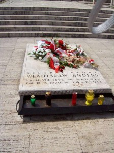 Grave of Polish Gen. Anders who nled final attack on and captured Monte Casino, Italy, in 1944. Buried in Polish cemetery on the mountain beneath abbey. 2007.