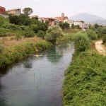 Rapido River at town of Sant Angelo, Italy, site of repeated bloody U.S. efforts to cross river during Battle of Cassino. 2007