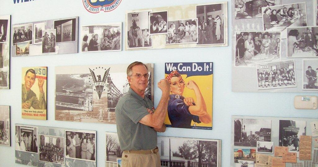 Lavin Studio in Hannah Block Historic USO becomes part of mini-museum of the Wilmington WWII home front with photomurals and the piano Hannah played. Rosie the Riveter stars. 2008.