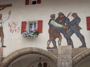 Painting on building in Berchtesgaden, Bavaria, remembering WWII. 2008/10.