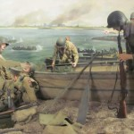 82nd Airborne Division crossing Waal River under fire to capture Nijmegen bridge. Operation Market Garden. Painting at Groesbeek Museum.  2010.