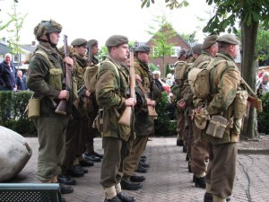 Polish airborne troops reeanctors at Polish ceremony at Driehl, Netherlands, on Rhine, across from Arnhem. 2010.