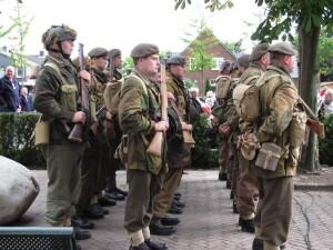 Polish airborne troops reeanctors at Polish ceremony at Driehl, Netherlands, on Rhine, across from Arnhem. 2010.