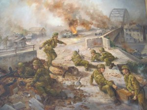 Painting of British airborne troops defending northern end of Arnhem bridge, Operation Market Garden. Hartenstein Hotel museum, Overbeek, Netherlands. 2010.