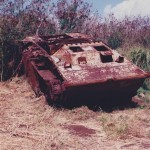 Wreck of Marine LVT amphibious tractor discovered in 1994 in jungle behind landing beaches on Tinian, Marianas. 1995