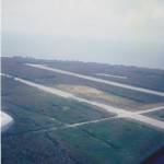 Aerial view of North Field on Tinian, Marianas, home to B-29 Superfortresses that bombed Japan, including the Enola Gay and Bocks Car - dropped atomic bombs. 1995