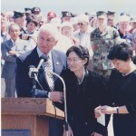 Madame Kuribyashi, widow of Iwo Jima commander, speaks at Iwo Jima joint Japanese-American 50th anniversary ceremony. 1995