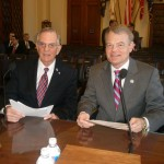 Rep. Mike McIntyre (7th District, N. C.) and WWII Wilmington Home Front Heritage Coalition CAPT Wilbur Jones. 2012