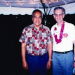 With Frolian Tenorio, governor of the Commonwealth of the Northern Marianas, Saipan. For Iwo Jima 50th anniversary. 1995.