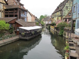 The main canal in picturesque Colmar, Alsace, France. 2014.