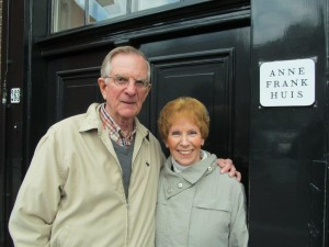 With friend Ann LaReau of Wilmington at the original doorway entrance to the Anne Frank House, Amsterdam, Netherlands. 2014