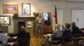 "Jones addresses Wilmington Rotary club members on ""vocational day"" at the Hannah Block Historic USO/Community Arts Center, Wilmington. 2013."