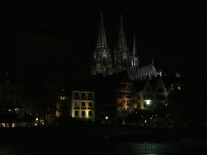The splendor of the cathedral of Cologne, Germany, at night taken from the Rhine River. This is the most magnificent cathedral in Europe I have ever visited. 2014