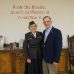 "Wilbur with WWII Red Cross worker Lee Ryan, 90, who served in Italy and France at the Rosie the Riveter: American Women in World War II"" lecture - Randall Library, UNCW"
