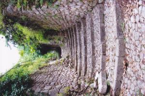 Stairway in destroyed village of San Pietro, Italy